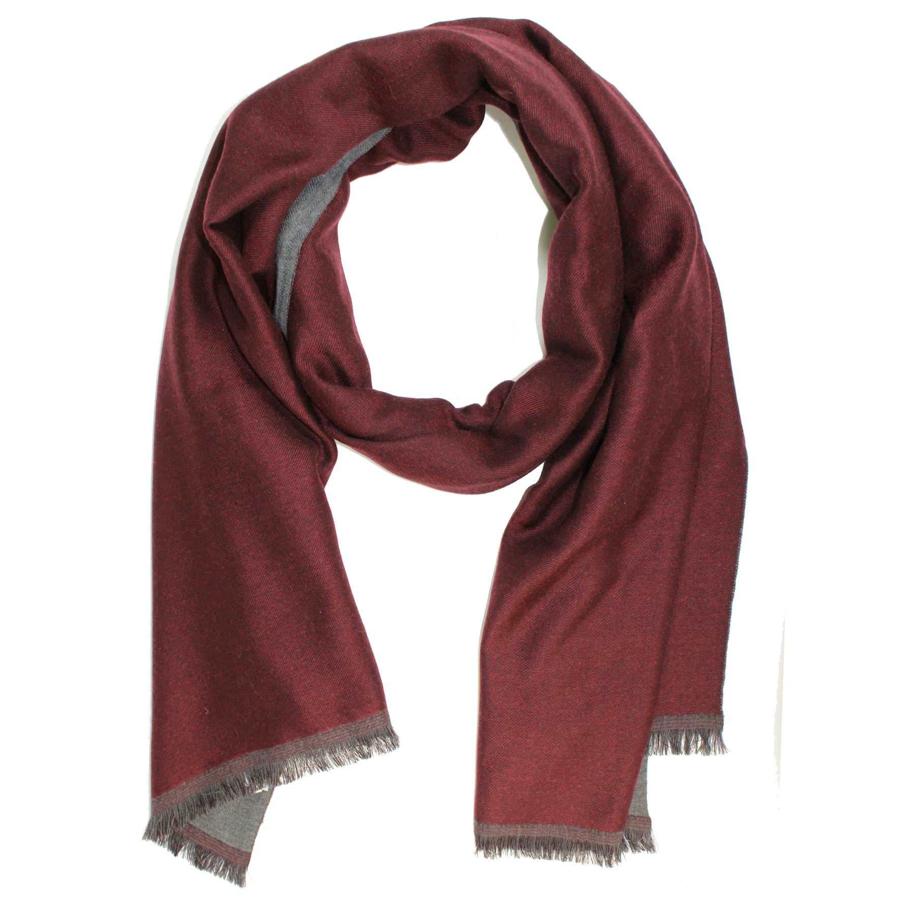 Agnona Scarf Charcoal Gray Burgundy Solid