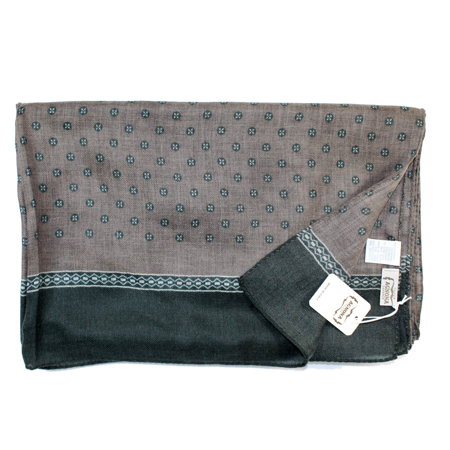 Agnona Scarf Taupe Gray Green Design