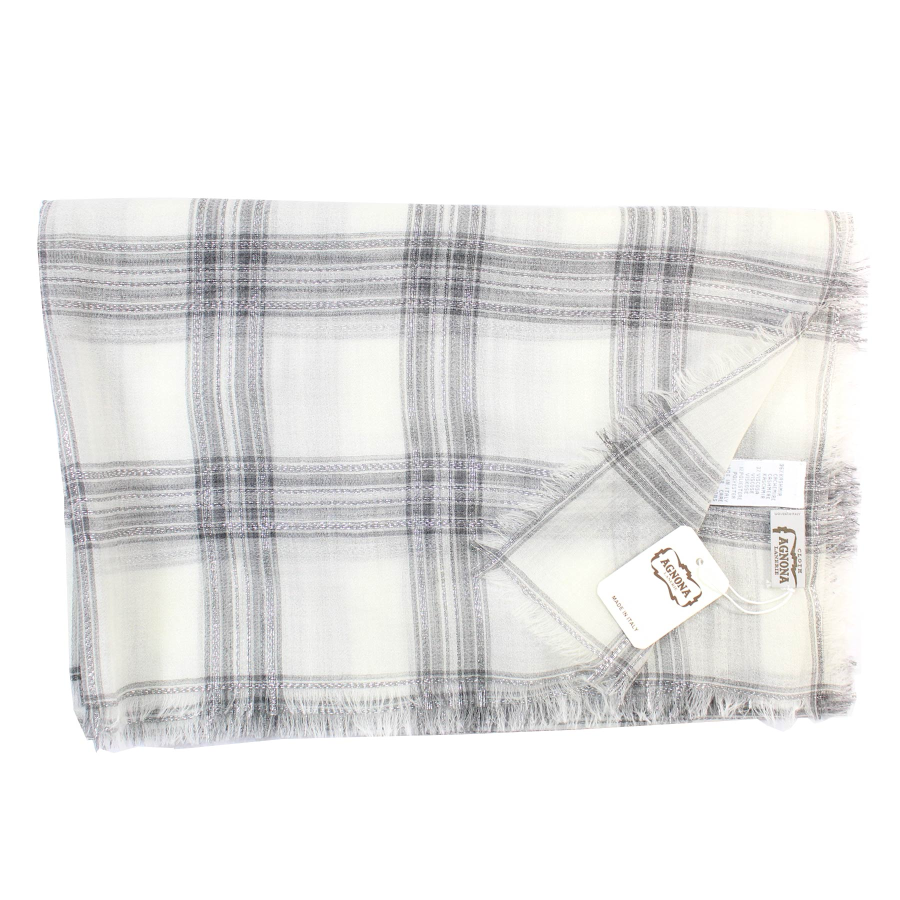 Agnona Scarf White Gray Silver Plaid