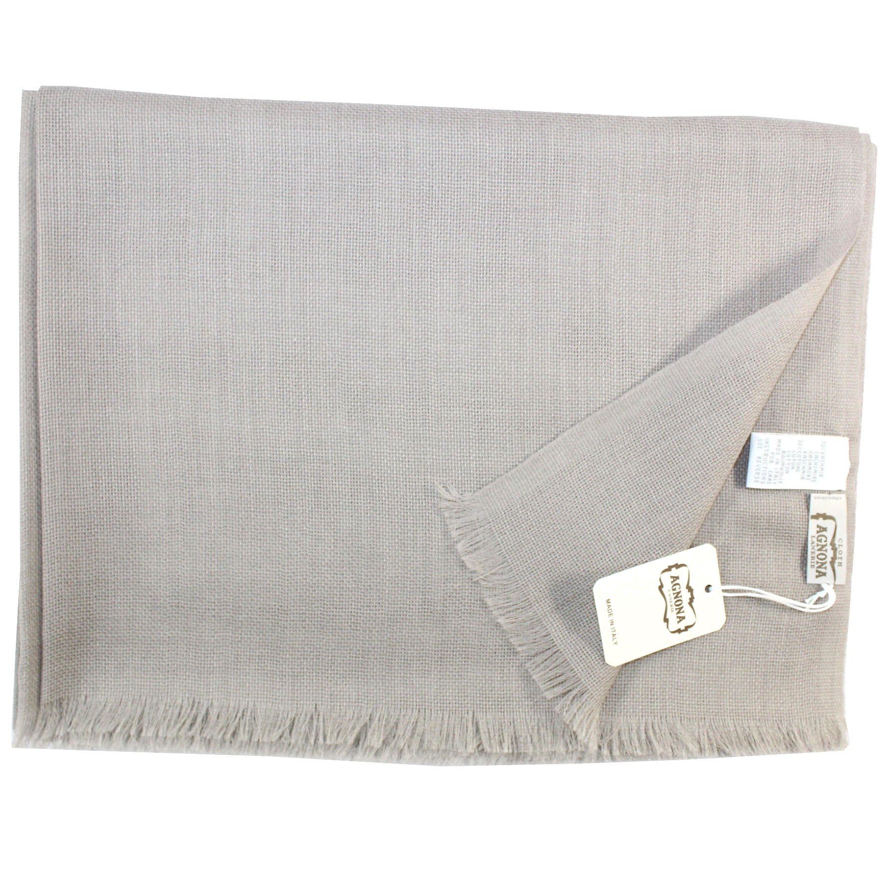 Agnona Scarf Taupe Solid - Cashmere Cotton Shawl