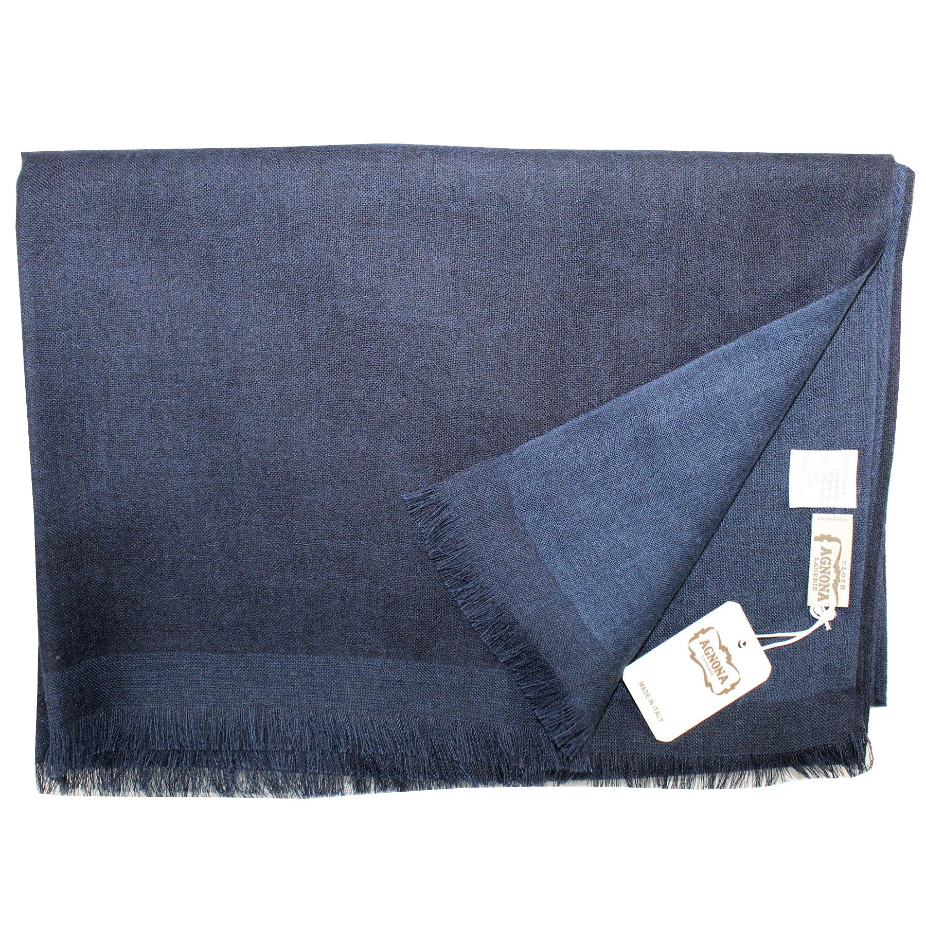 Agnona Scarf Navy Solid - Cashmere Cotton Shawl
