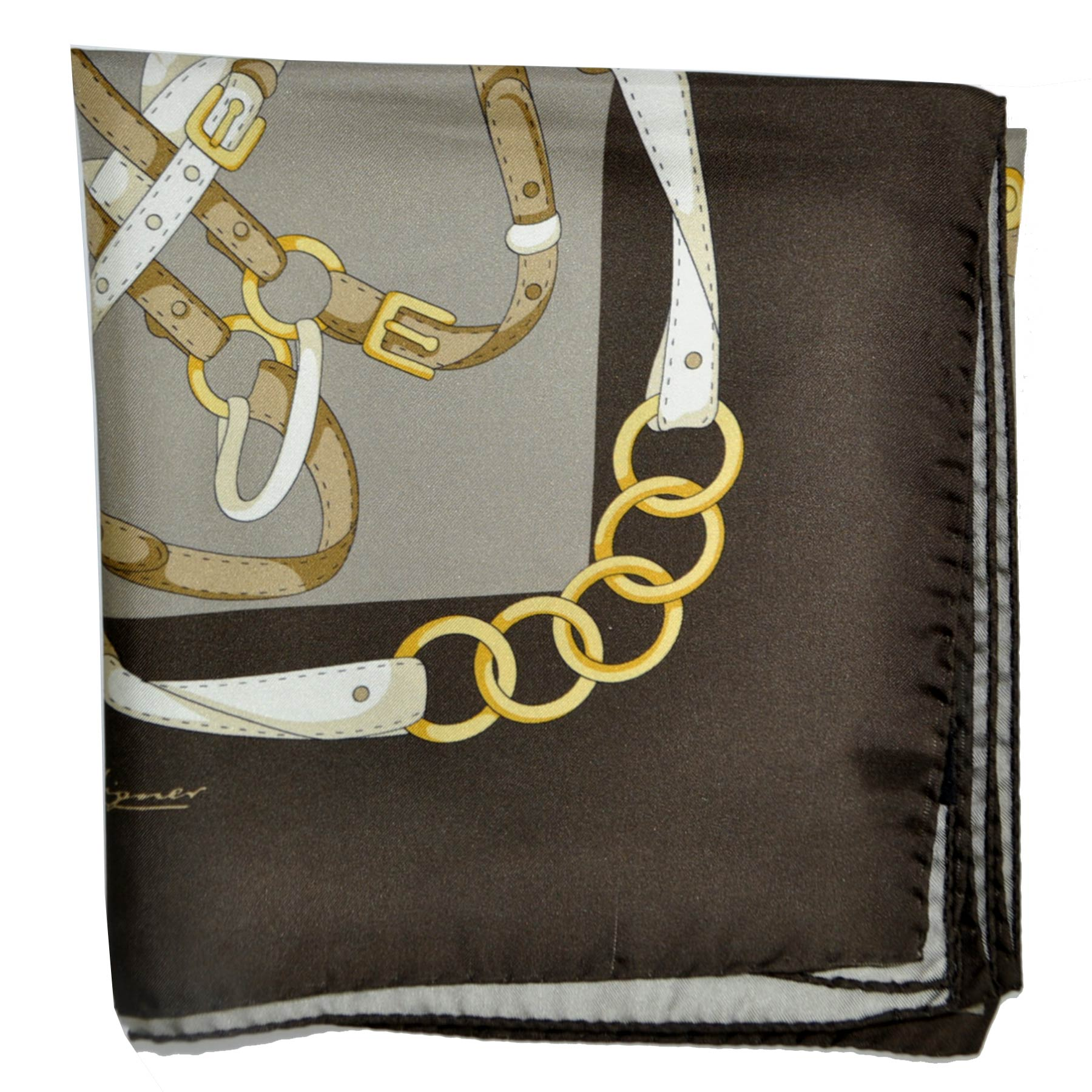Aigner Scarf Brown Gold Cream Design Twill Silk Square Scarf