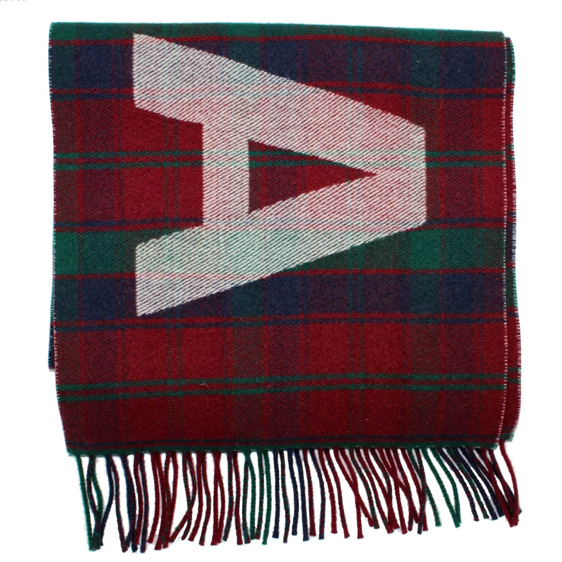 Balenciaga Scarf Burgundy Green Plaid Logo Wool Shawl SALE