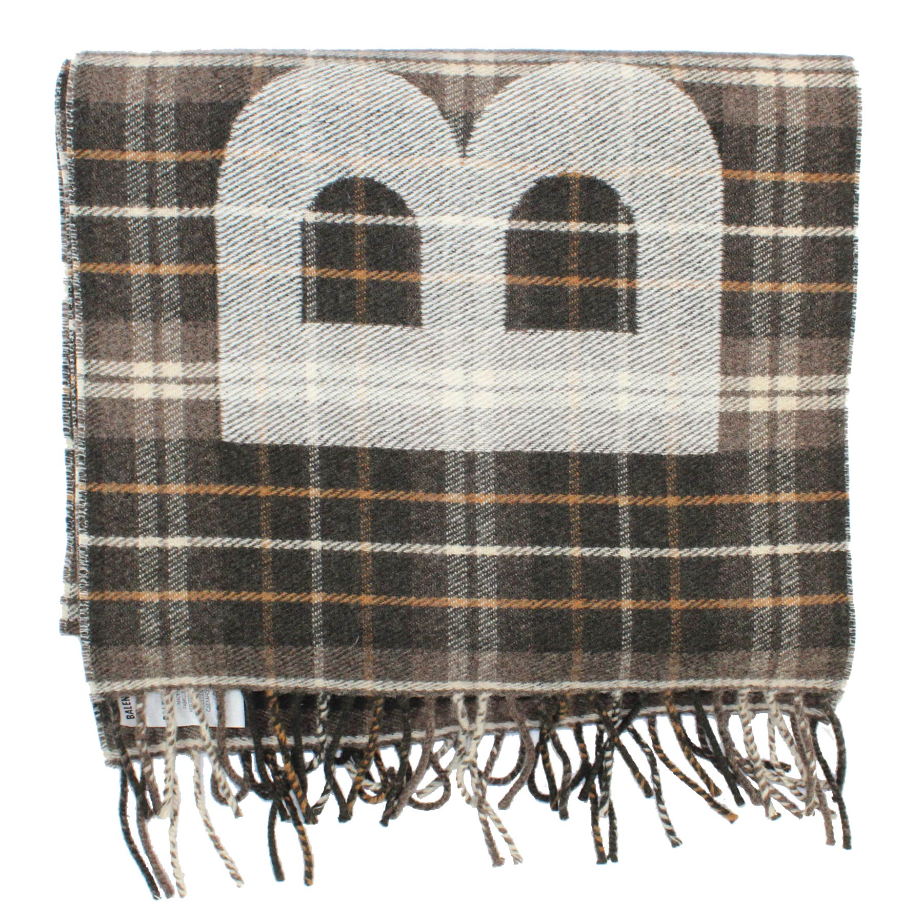 Balenciaga Scarf Brown Plaid Logo Wool Shawl