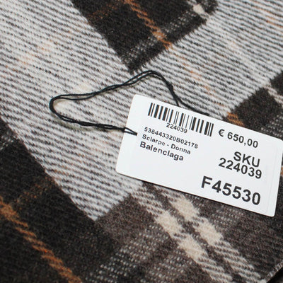 Balenciaga Scarf Brown Plaid Logo Wool Shawl SALE