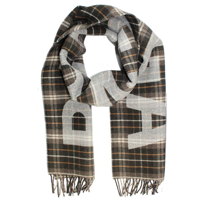 Balenciaga Wool Scarf Brown Plaid Logo Shawl