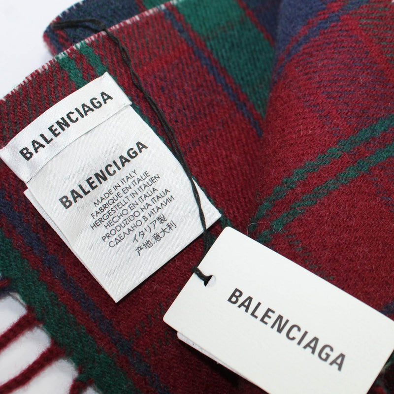 Balenciaga Scarf Burgundy Green Plaid Logo Wool Shawl