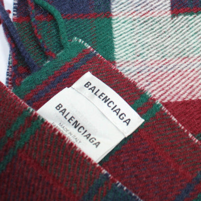 Balenciaga Wool Scarf Burgundy Green Plaid