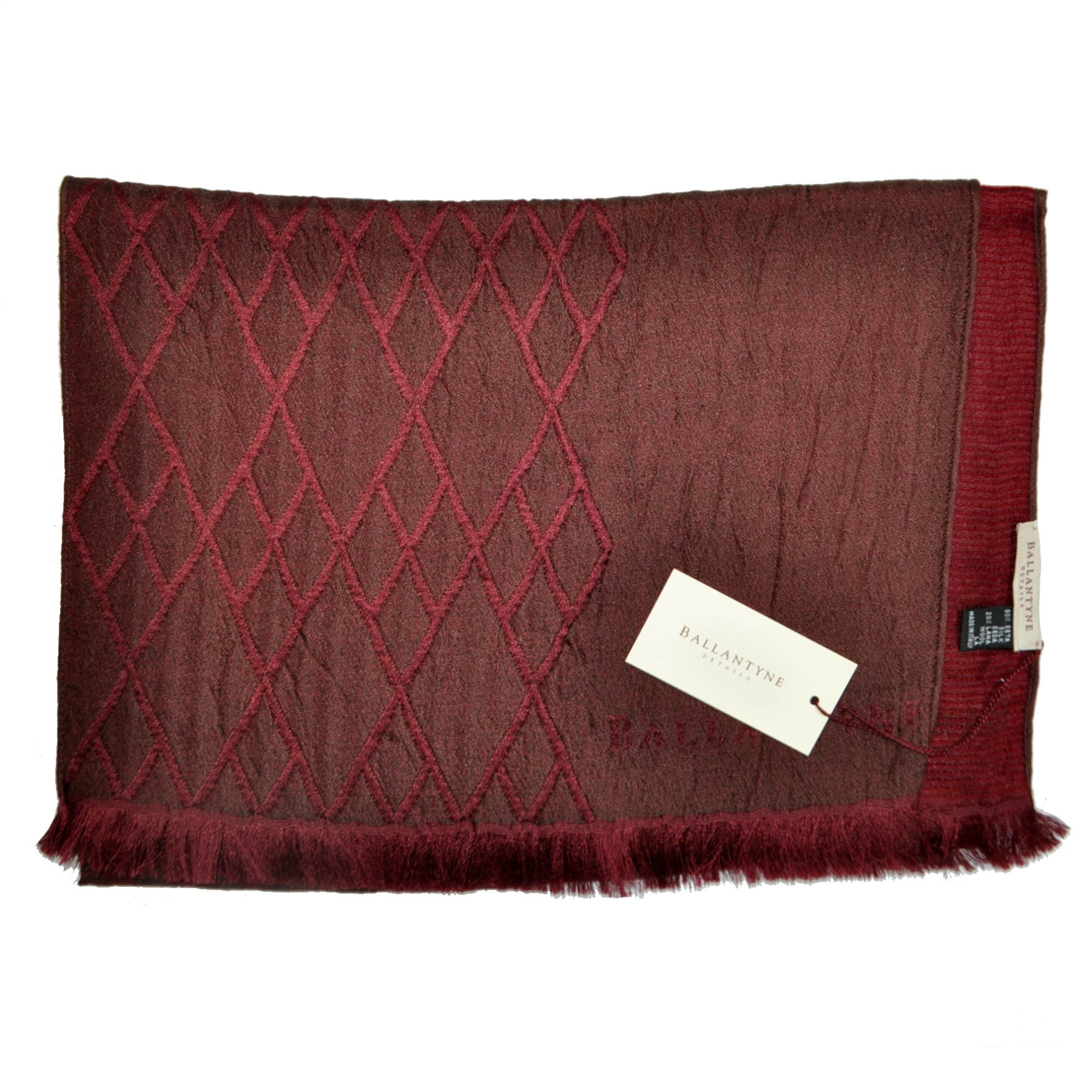 Ballantyne Scarf Burgundy Brown Argyle Wool Silk Shawl