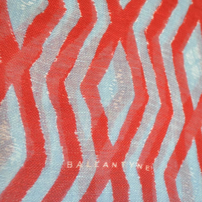Ballantyne Scarf Sky Blue Red Argyle Linen Silk Square Scarf
