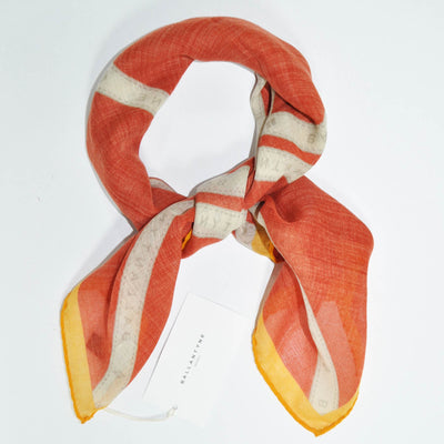Ballantyne Wool Scarf Orange Stripes Argyle Square New