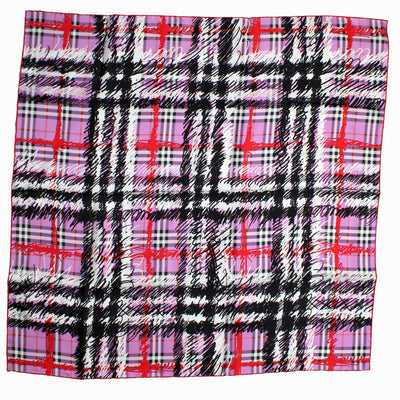 Burberry Scarf Pink Check Plaid - Large Twill Silk Scarf
