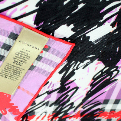 Burberry Scarf Pink Plaid - Large Twill Silk Scarf