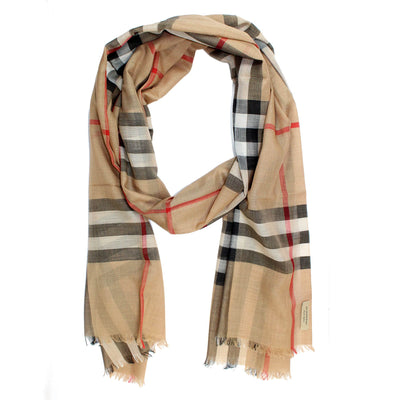 Burberry Scarf Camel Giant Check Gauze - Wool Silk Shawl