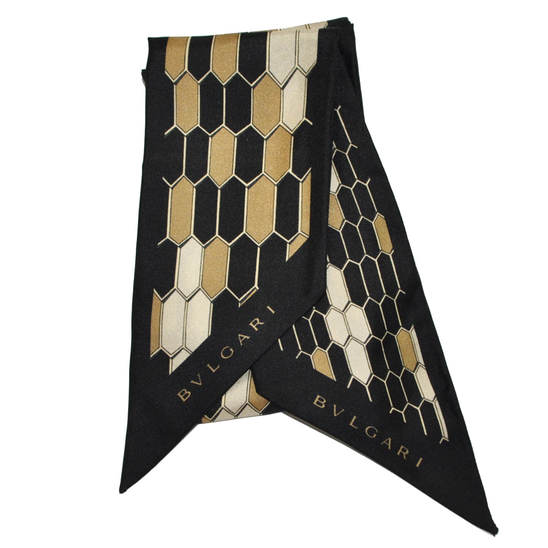 Bvlgari Scarf Black Signature Twilly