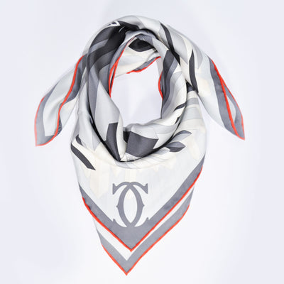Women Cartier Scarf Gray Signature Print