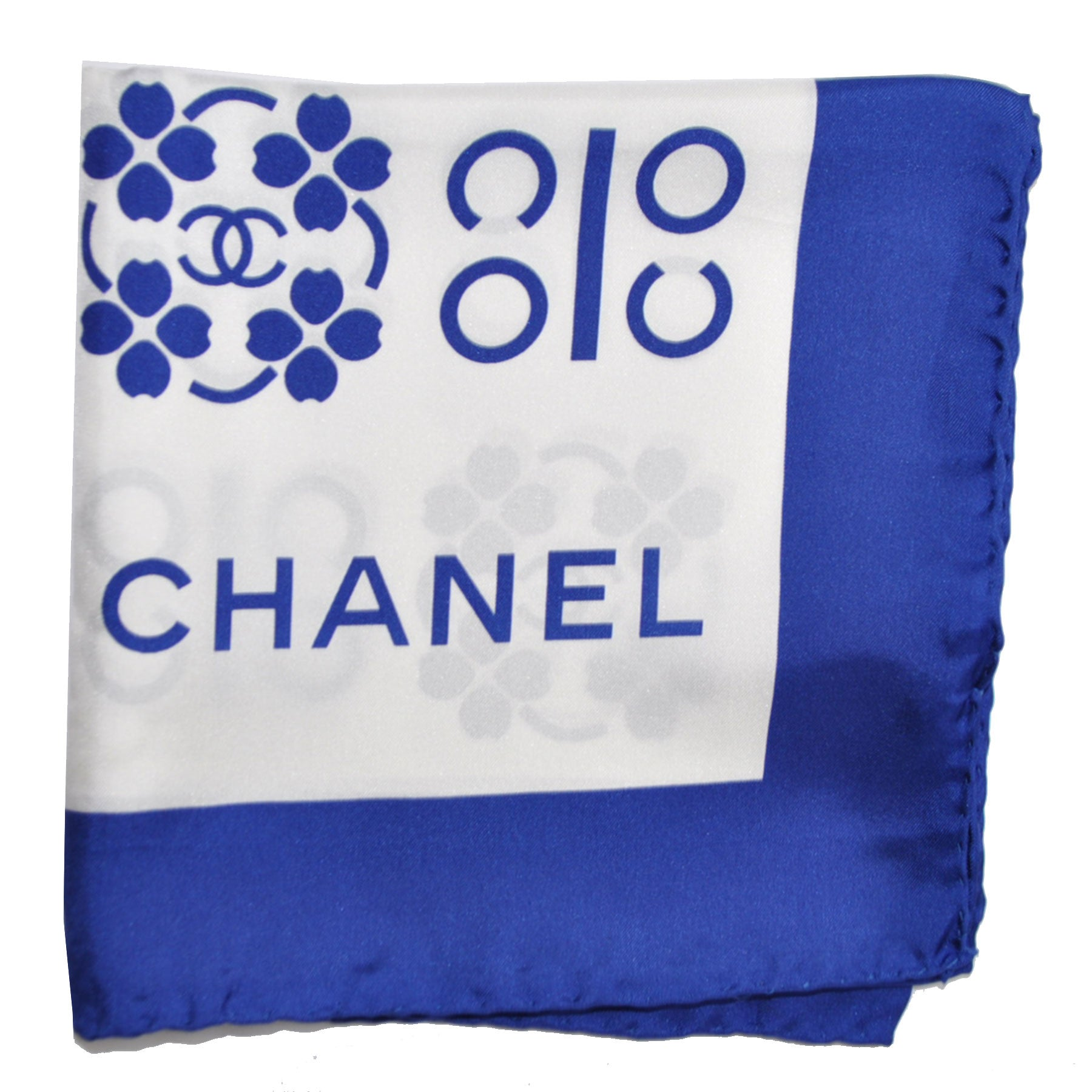 Chanel Scarf Royal Blue White CC Coco Chanel Logo