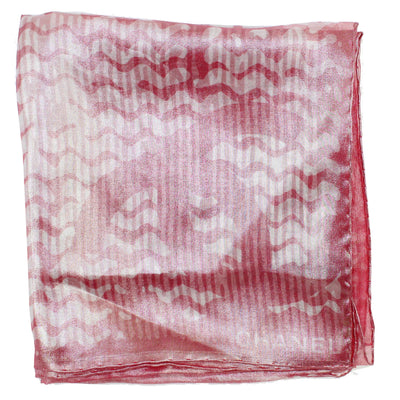 Chanel Scarf Cranberry Pink Silver Design