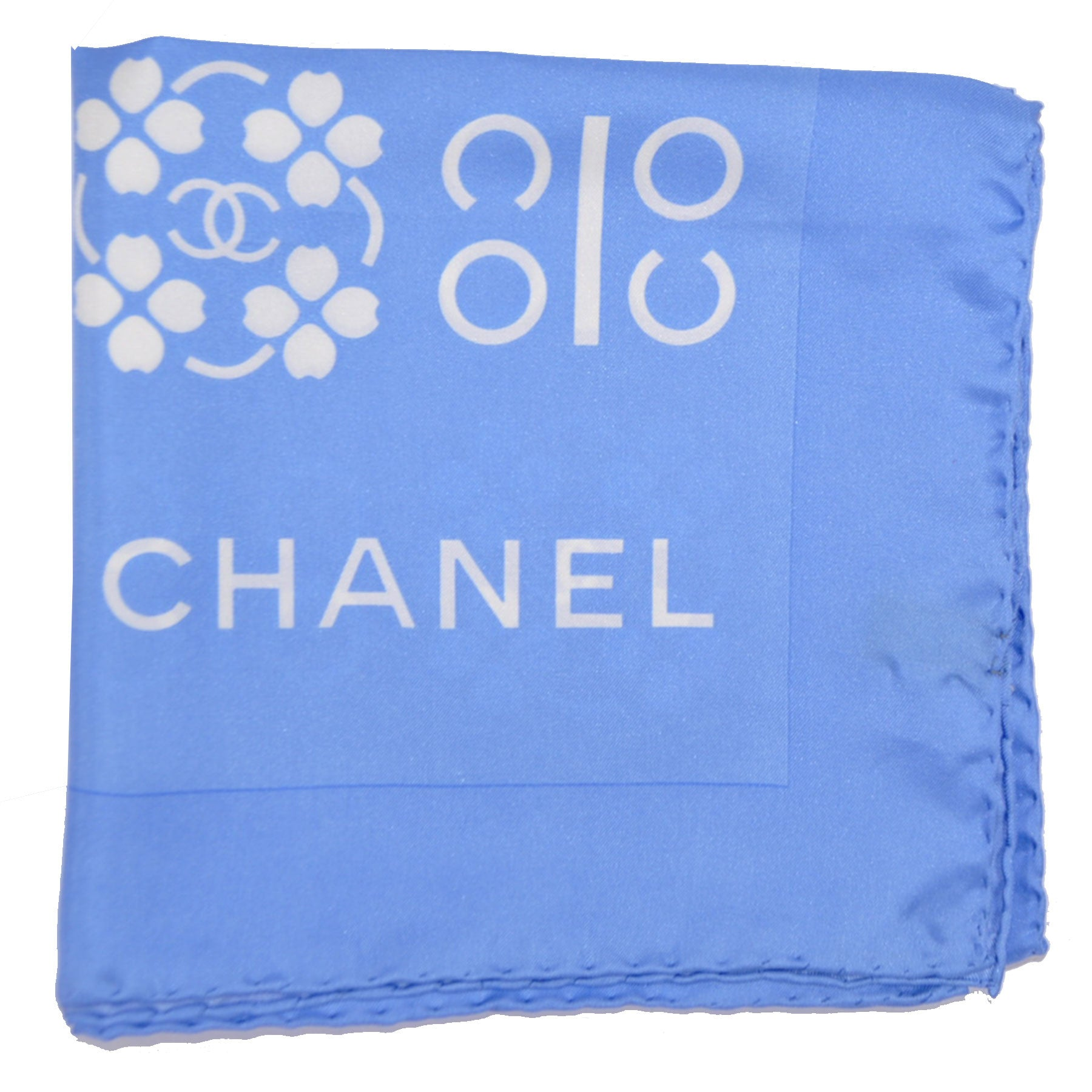 chanel scarf. chanel scarf periwinkle blue logo print silk square