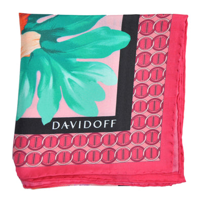 Davidoff Silk Scarf Pink Floral Logo Print - Made In Italy SALE