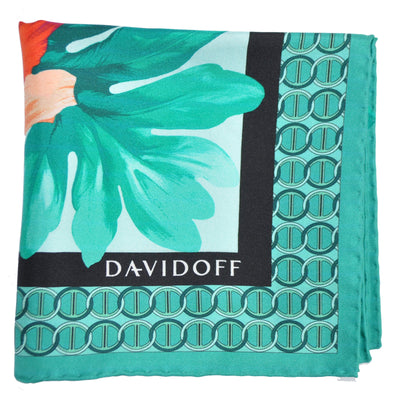 Davidoff Silk Scarf Green Floral Logo Print - Made In Italy SALE