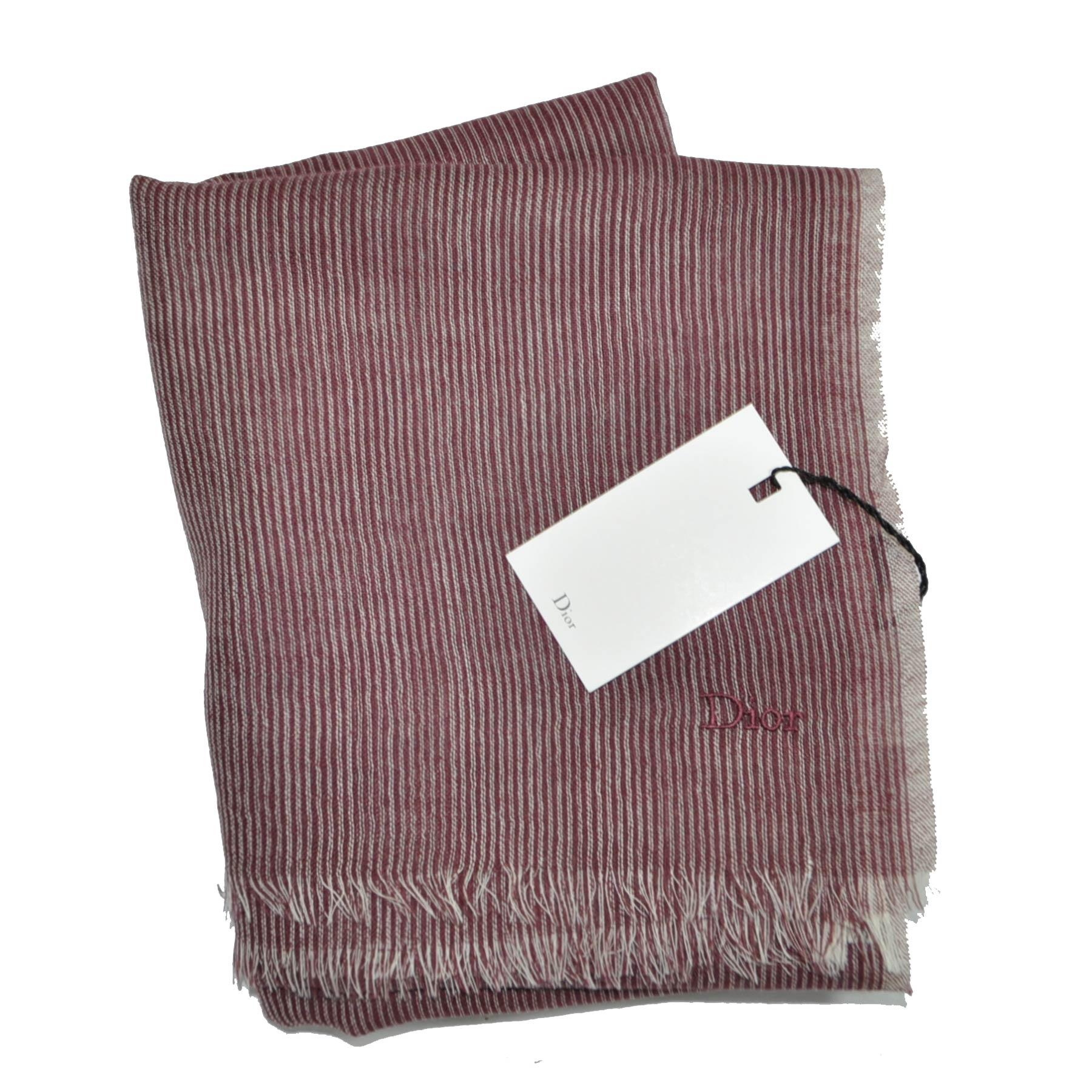 Dior Scarf Maroon Gray Stripes Wool Shawl