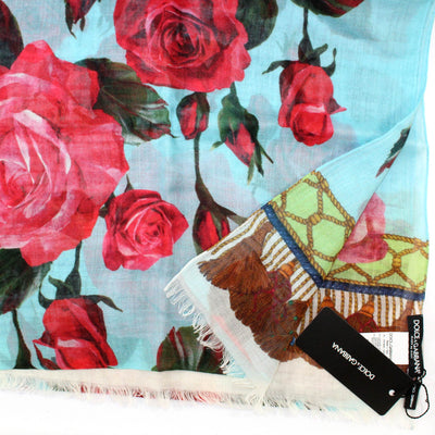 Dolce & Gabbana Scarf Sky Blue Red Pink Roses Floral - Extra Large Cashmere Silk Wrap
