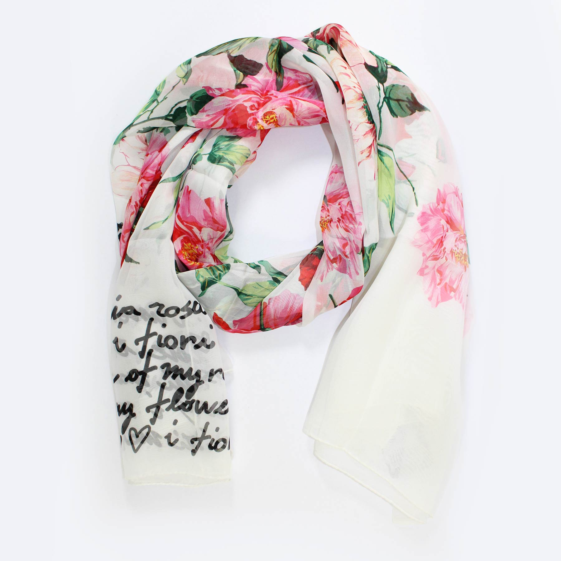 Dolce & Gabbana Scarf White Pink Red Roses Floral - Extra Large Chiffon Silk Shawl