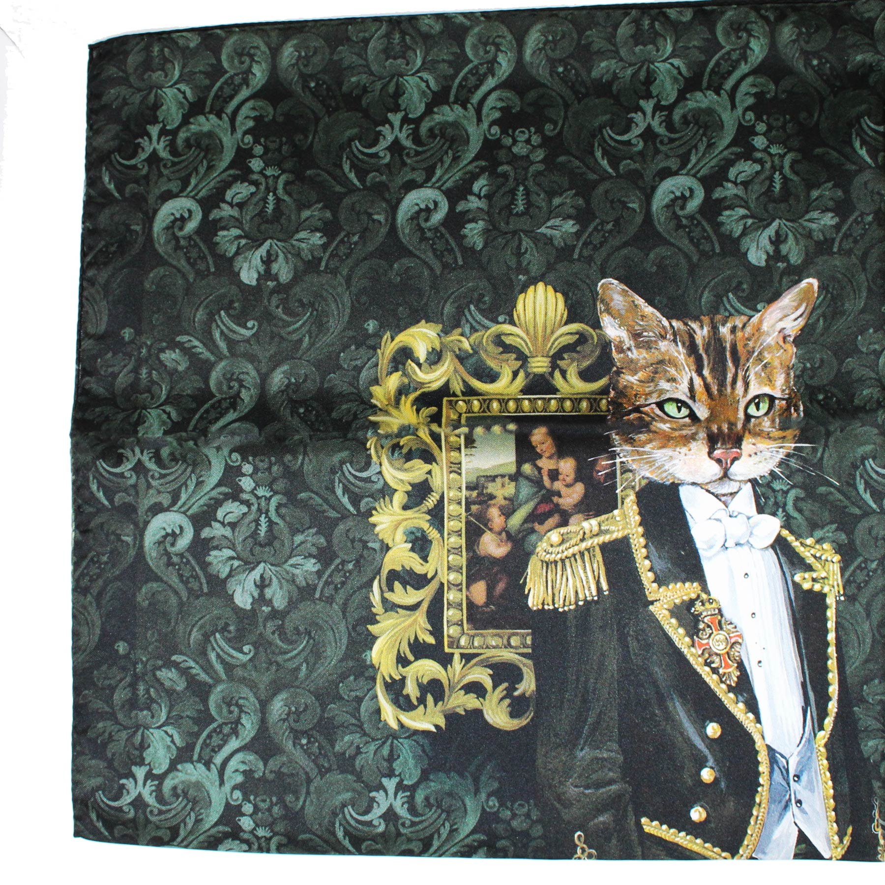 Dolce & Gabbana Scarf Black Green Painting -  Large Square Scarf