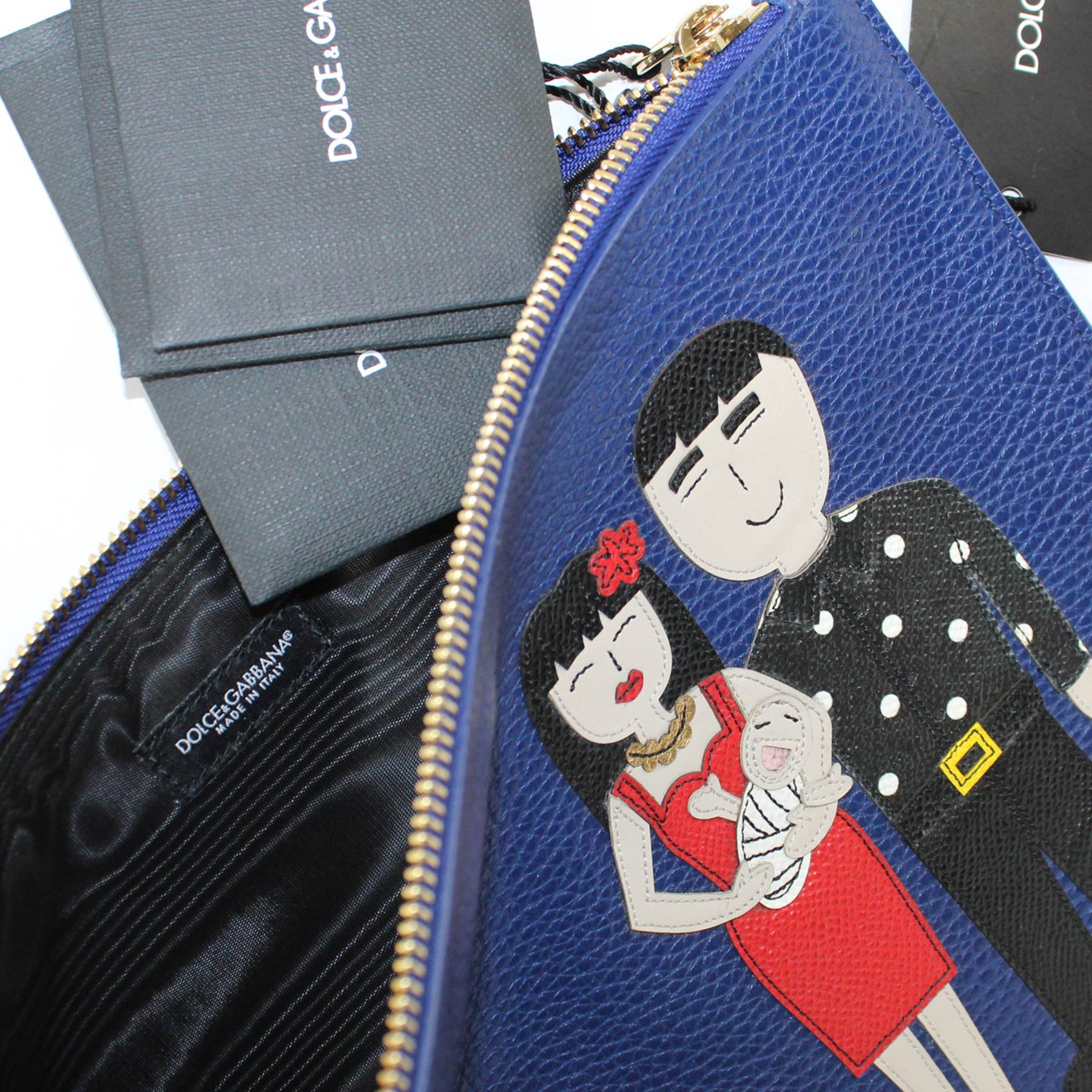 Dolce & Gabbana Lapis Blue Leather Zip Clutch Bag