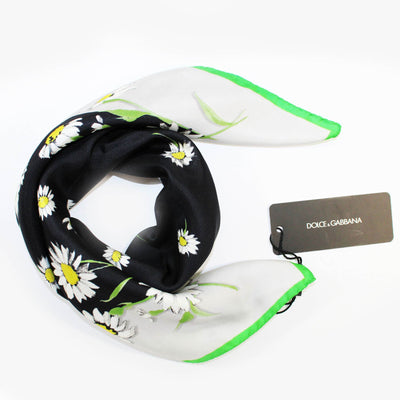 Scarf White Green Black Flowers