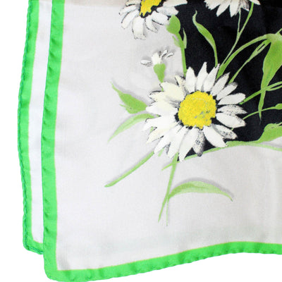 "Dolce & Gabbana Scarf White Green Black Flowers - Twill Silk 27"" Square Scarf"
