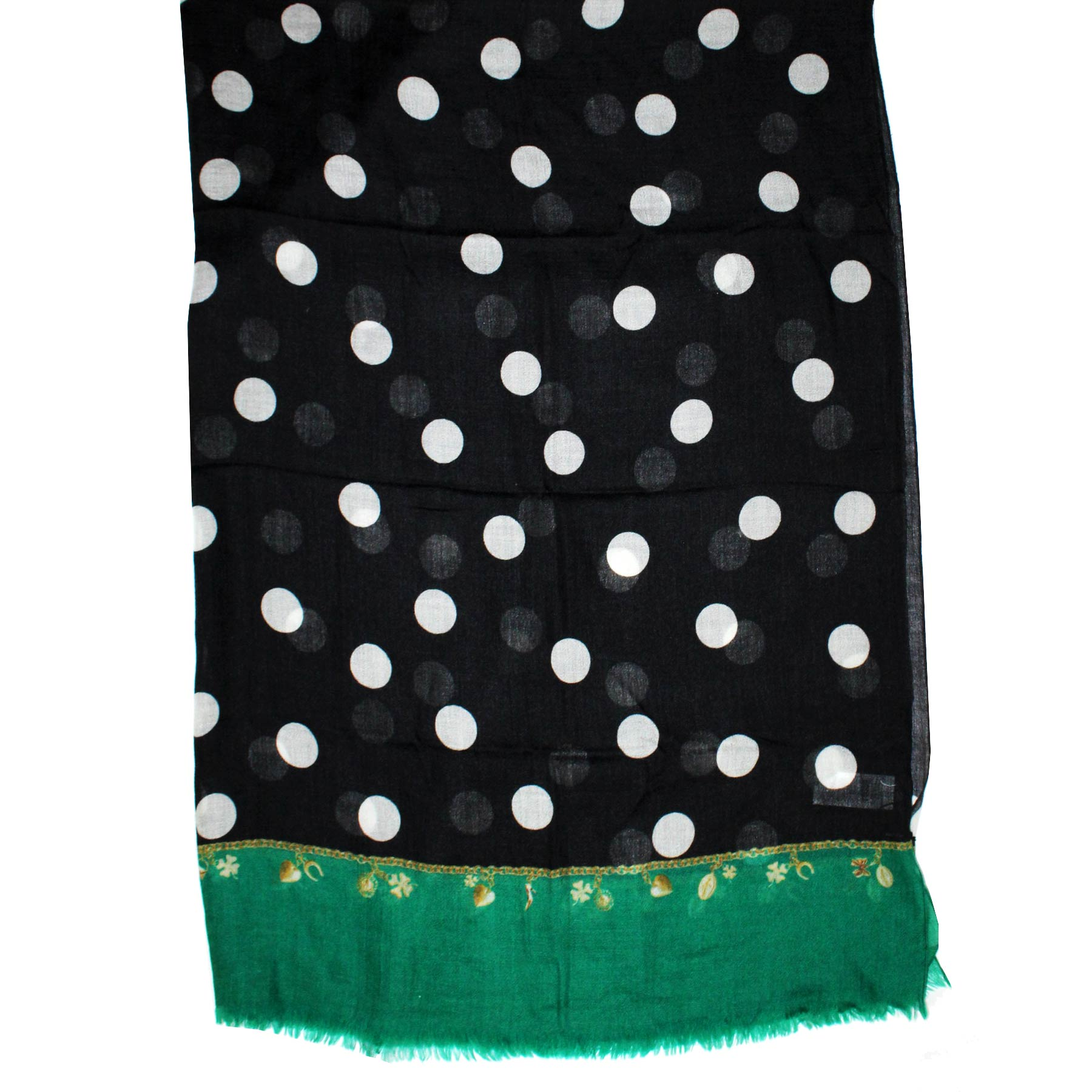 Scarf Black Green Dots Lucky Charm New
