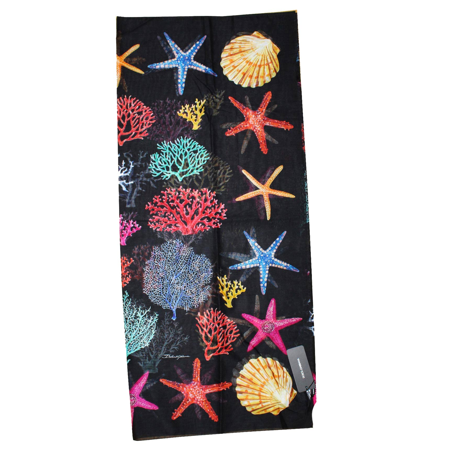 Dolce & Gabbana Scarf Black Shell Coral & Sea Star
