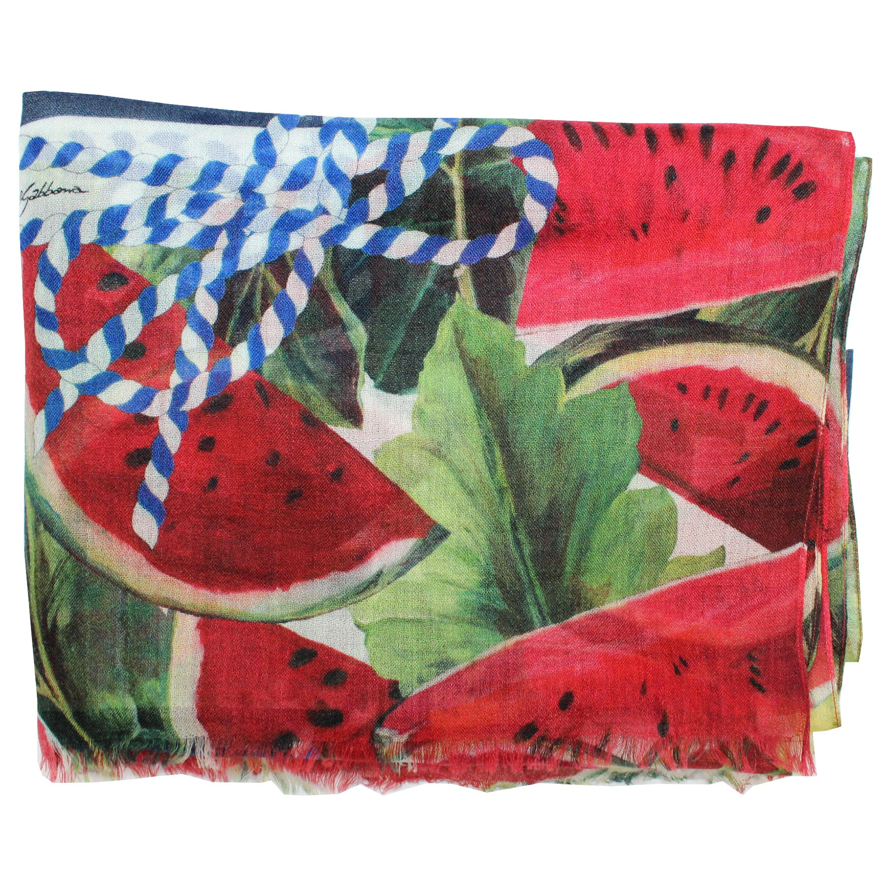 Dolce & Gabbana Scarf Red Green Watermelons - Extra Large Cashmere Wrap