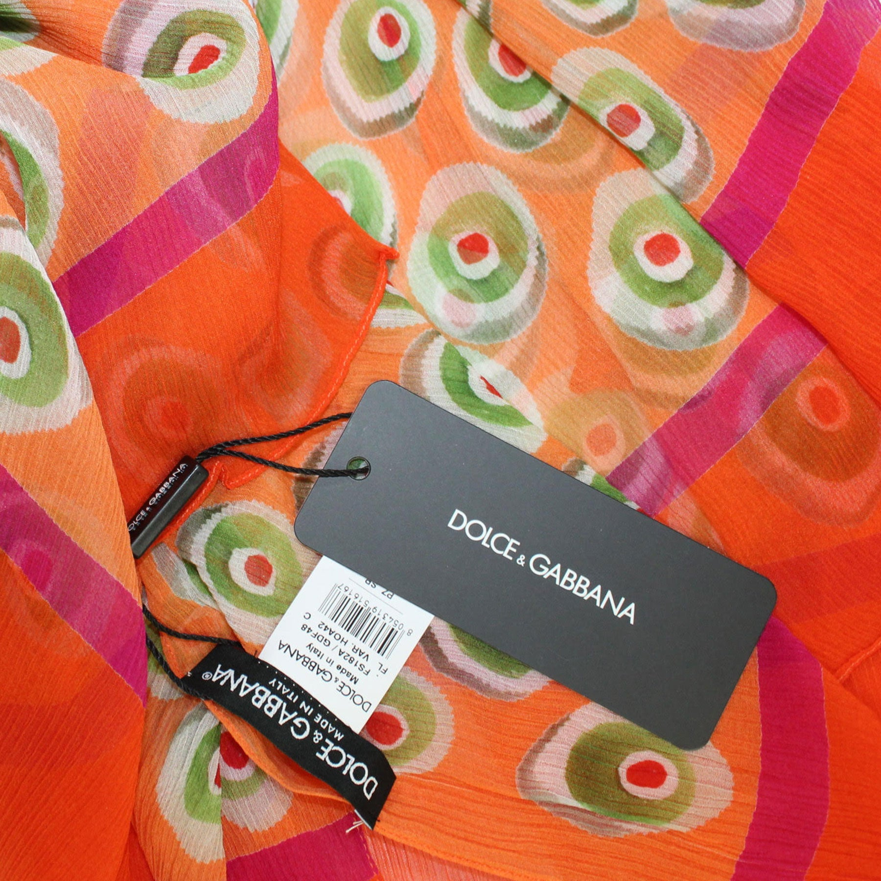 Dolce & Gabbana Scarf Orange Green Maroon Candies - Extra Large Cashmere Wrap