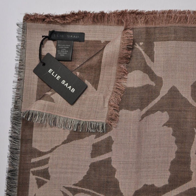 Elie Saab Scarf Brown Pink English Garden Wool Silk Shawl
