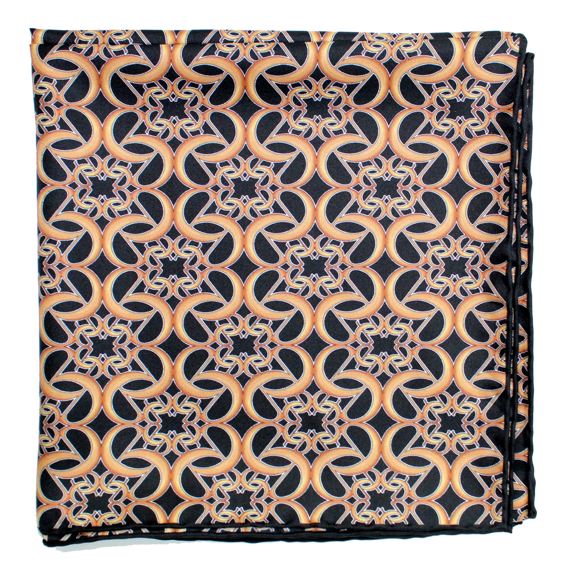 Elie Saab Scarf Black Brown-Gold - Large Twill Silk Square Scarf FINAL SALE