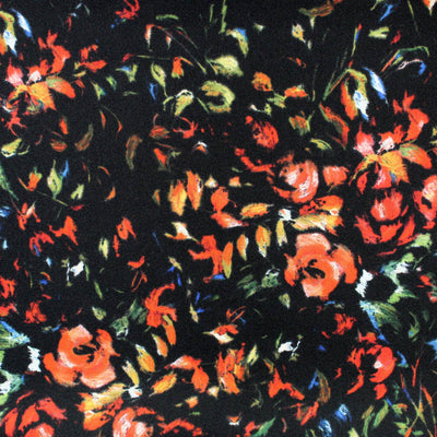 Elie Saab Scarf Black Floral - Large Twill Silk Square Scarf SALE
