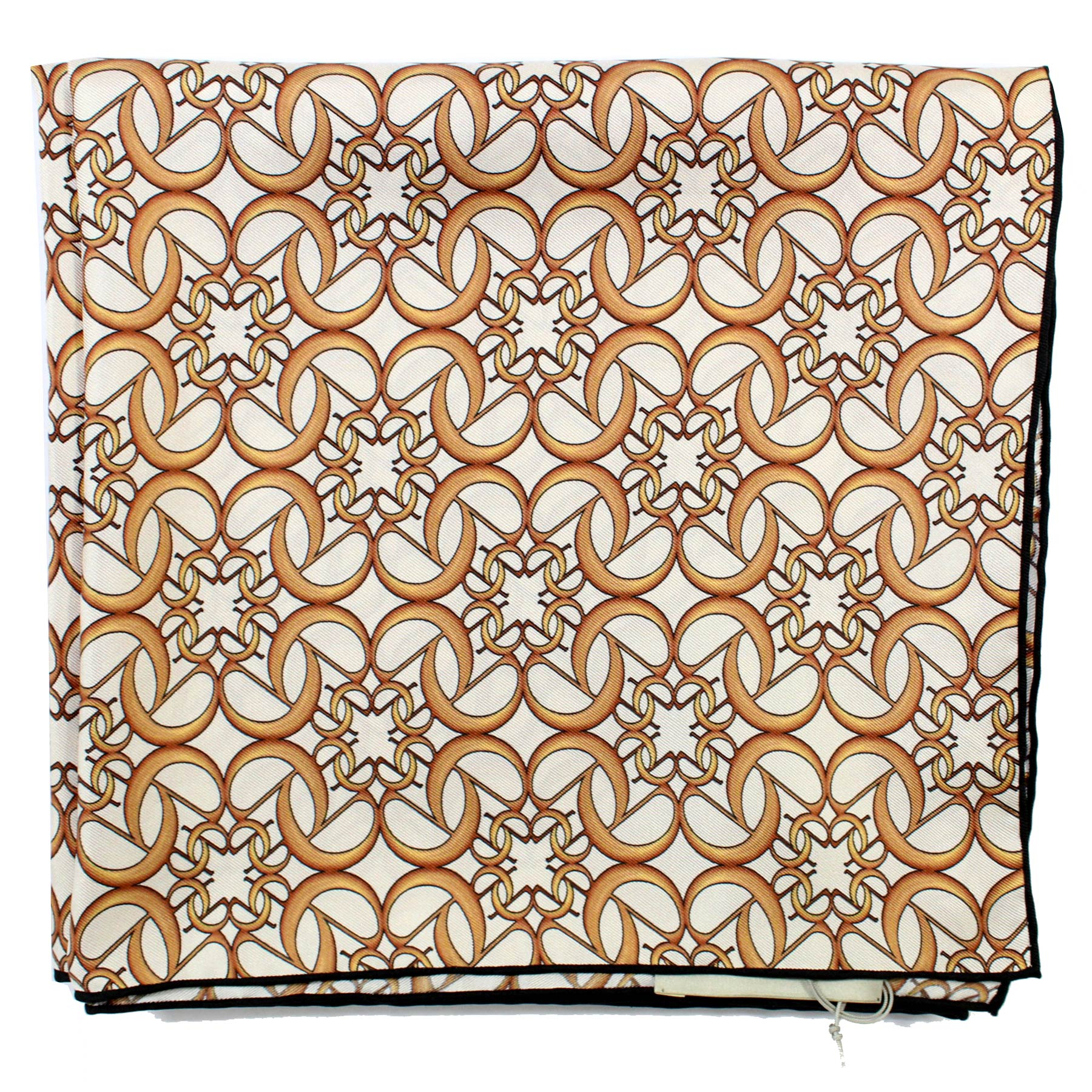 Elie Saab Scarf White Brown-Gold Design - Large Twill Silk Square Scarf