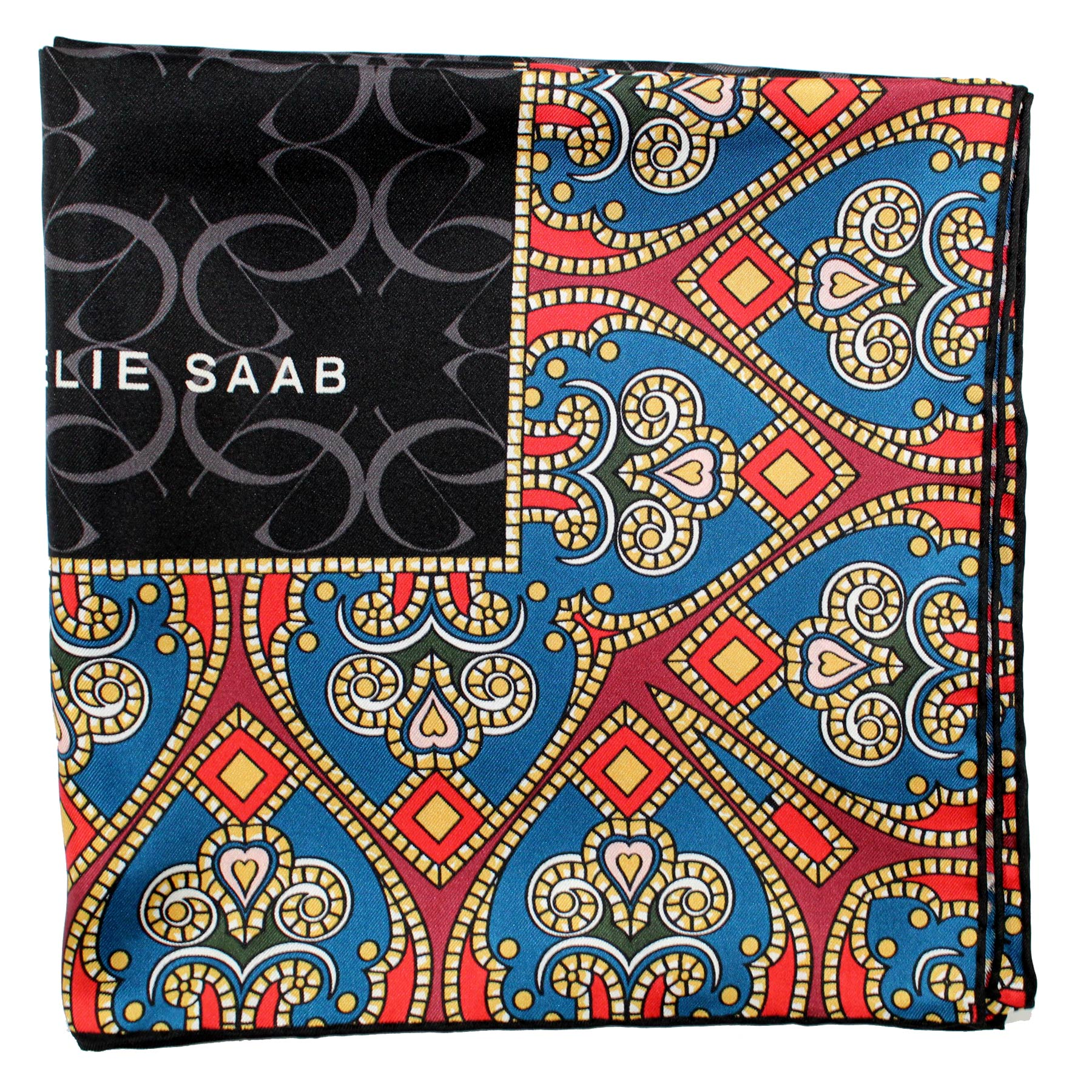Elie Saab Scarf Black - Teal Maroon Gold Hearts Design - Large Twill Silk Square Scarf