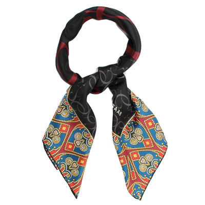 Elie Saab Scarf Black - Teal Maroon Gold Hearts Design