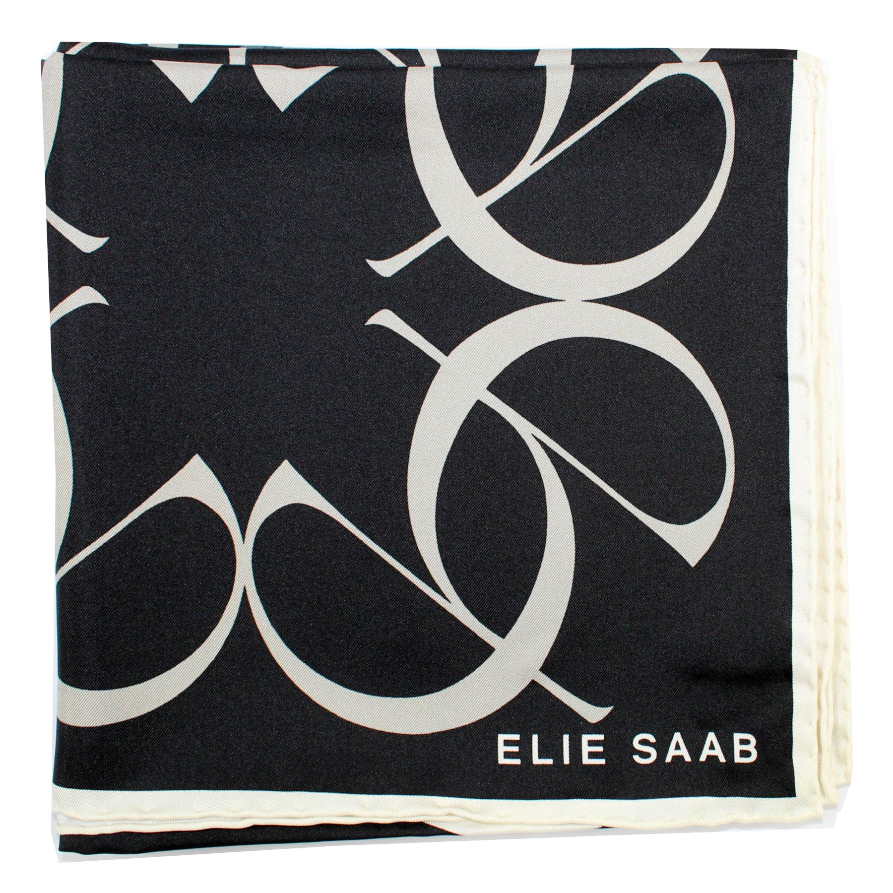Elie Saab Scarf Black Gray Logo Letters Design - Large Twill Silk Square Scarf