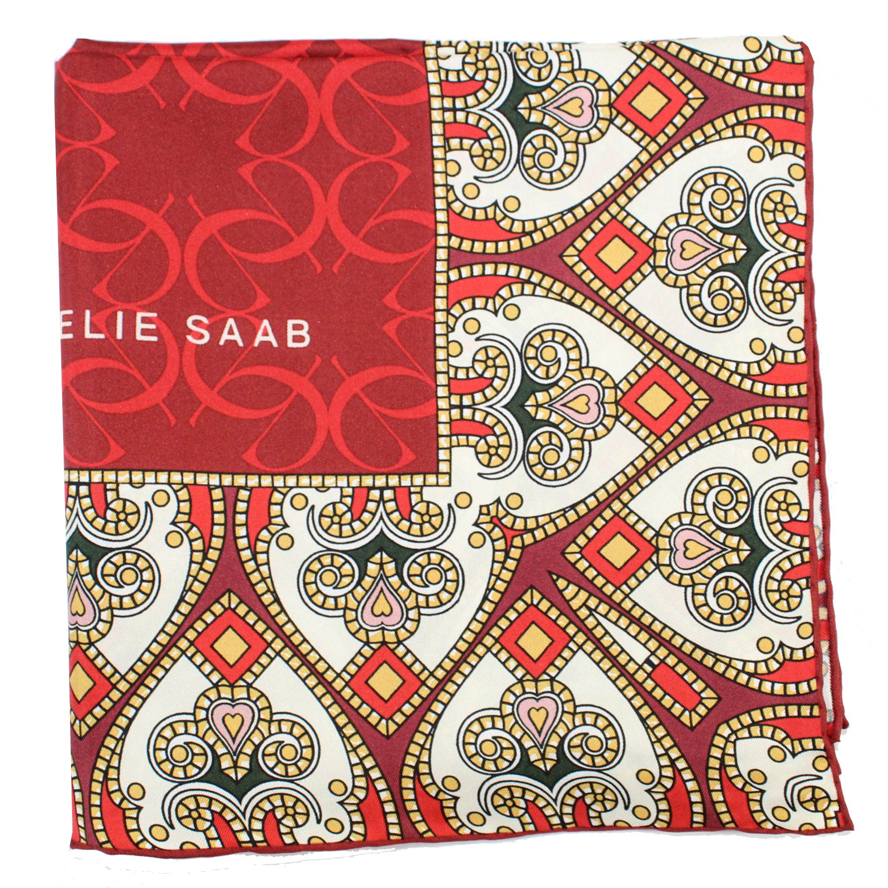 Elie Saab Scarf Red White Hearts Logo