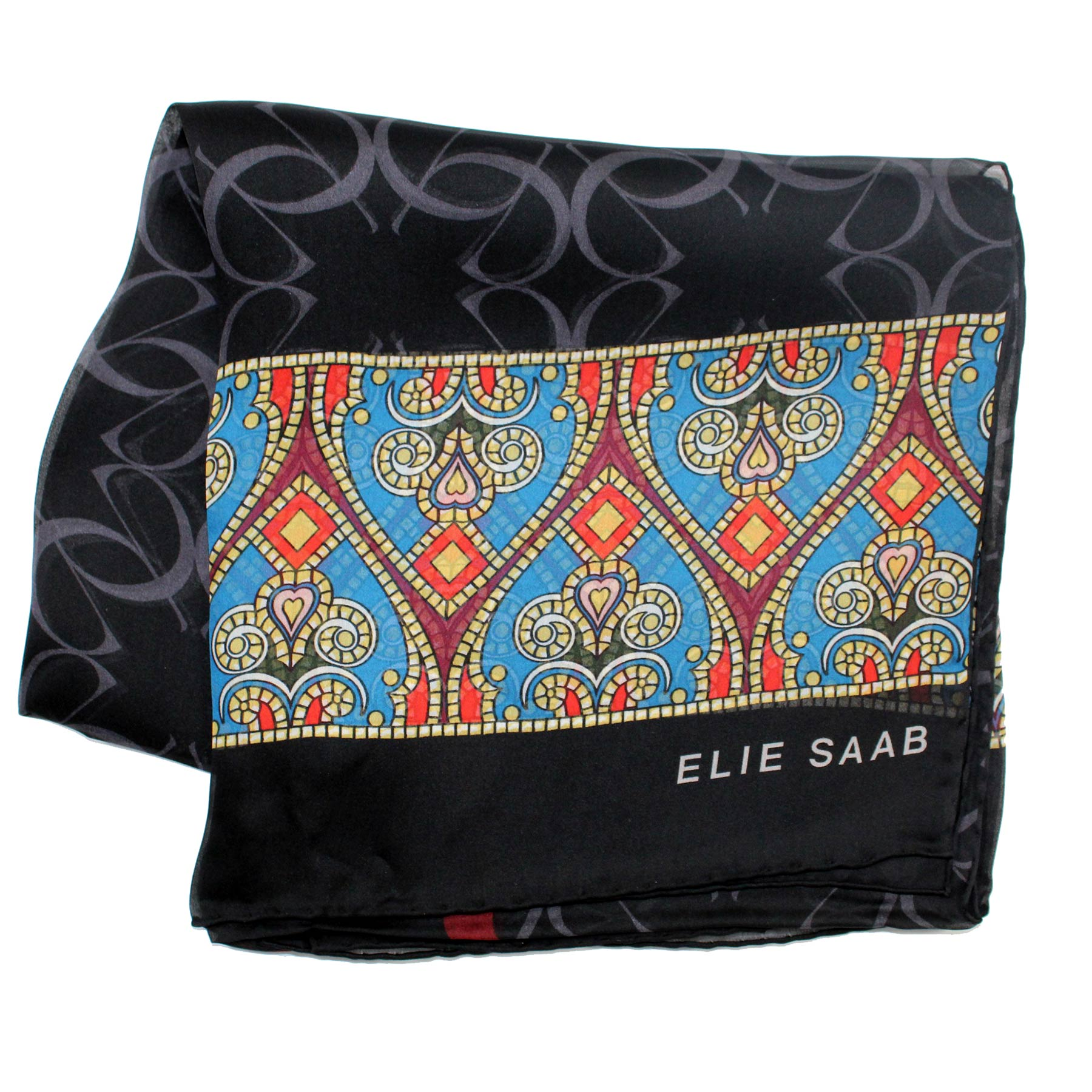 Elie Saab Scarf Black Gray Logo & Hearts Design - Chiffon Silk Shawl