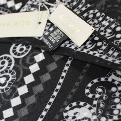 Elie Saab Scarf Black Geometric Hearts Design - Chiffon Silk Shawl
