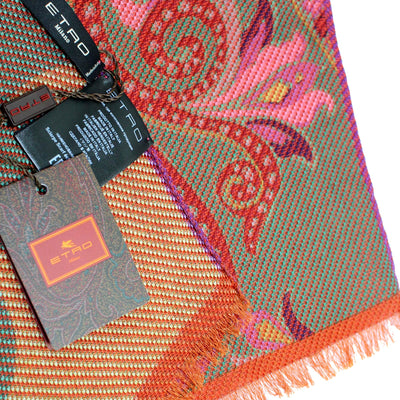 Etro Scarf Rust Taupe Pink Paisley - Wool Silk Blend Shawl