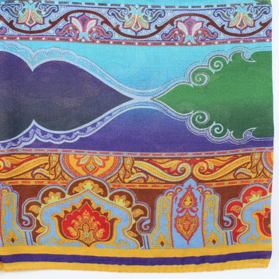 Etro Scarf Purple Mustard Blue - Extra Large Modal Cashmere Wrap
