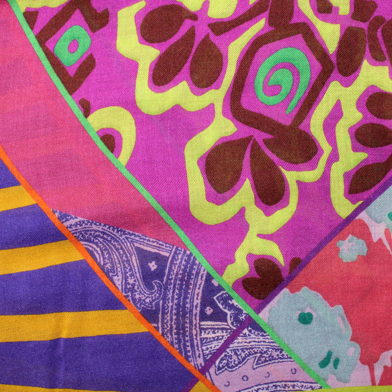 Etro Scarf Purple Pink Large Wool Silk Wrap