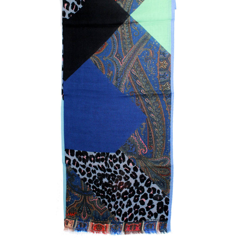 Etro Women Scarf Lavender Gray Panther Patch